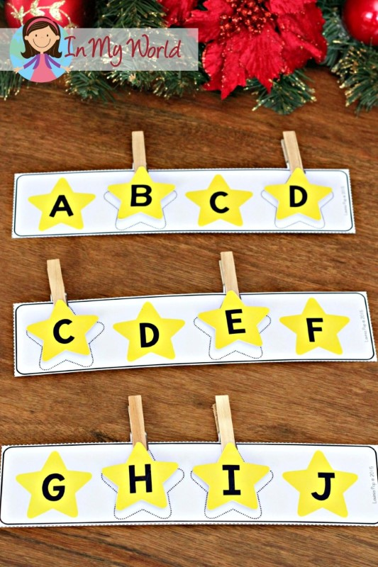 Christmas Nativity Preschool Centers Missing letters activity (upper and lower case letters)