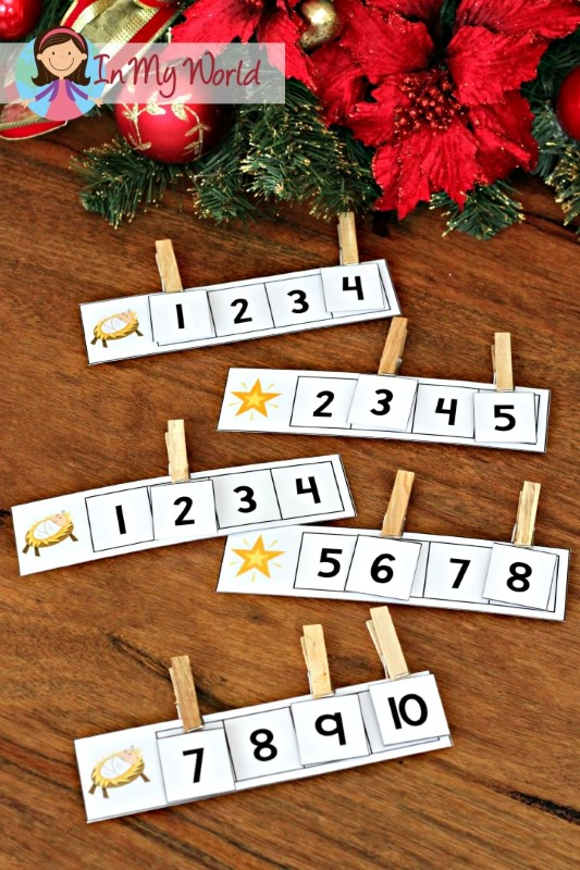 Christmas Nativity Preschool Centers Missing numbers activity
