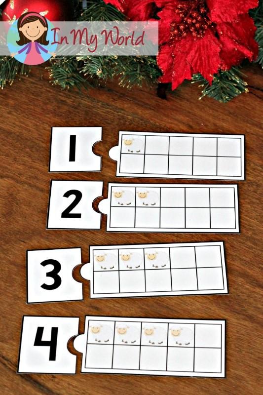Christmas Nativity Preschool Centers Sheep ten frame match