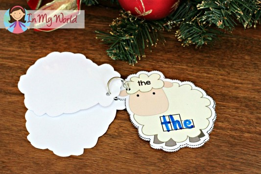 Christmas Nativity Preschool Centers Sight word configuration sheep cards