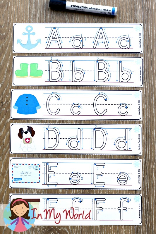 FREE Winter Literacy Centers for Kindergarten. Alphabet tracing cards.