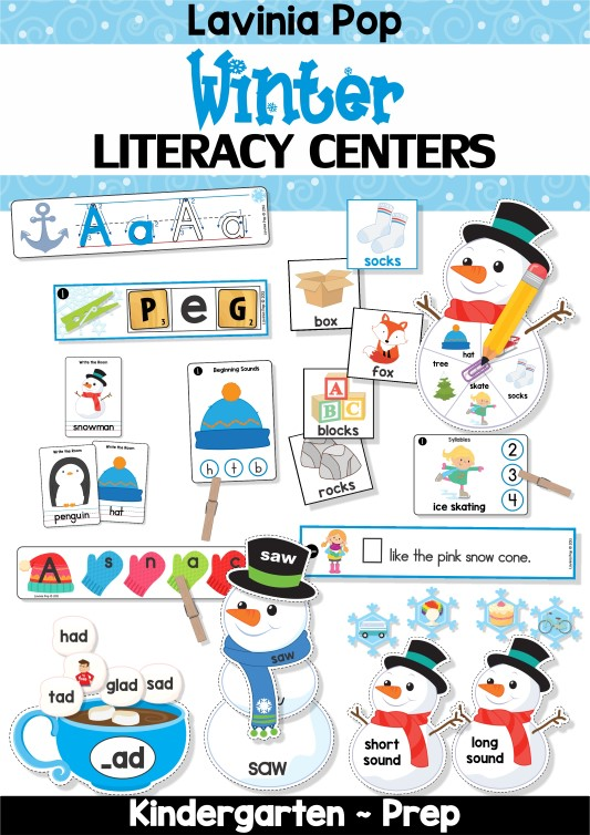 FREE Winter Literacy Centers for Kindergarten.