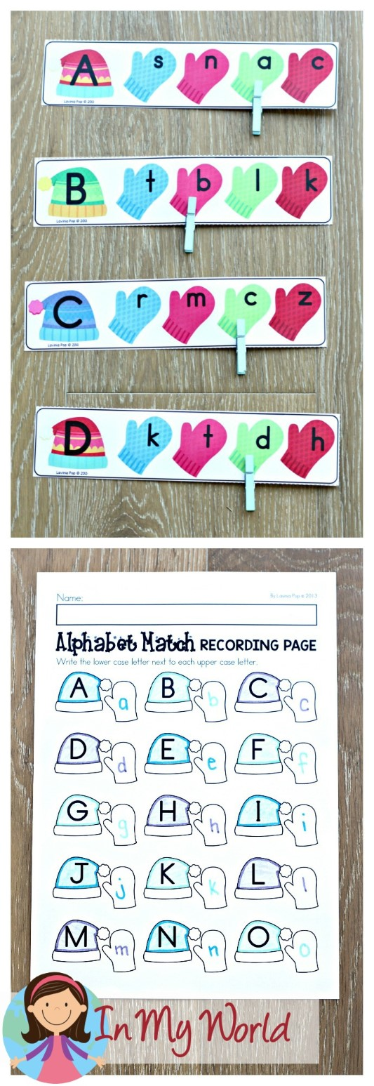 FREE Winter Literacy Centers for Kindergarten. Upper and lower case letter matching activity.
