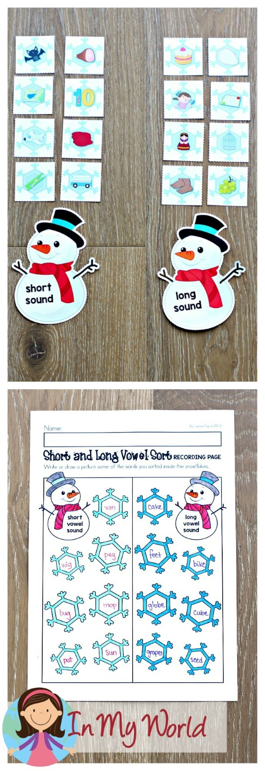 FREE Winter Literacy Centers for Kindergarten. Short and long vowel sorting activity.