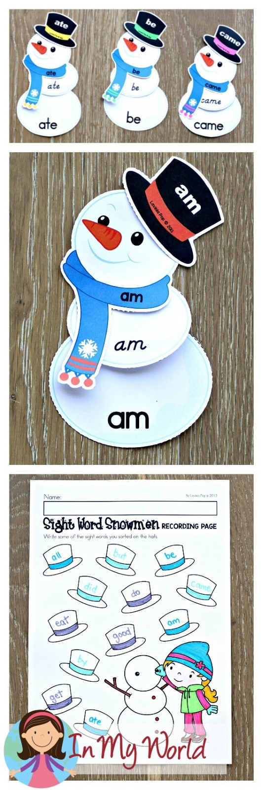 FREE Winter Literacy Centers for Kindergarten. Sight word snowmen.