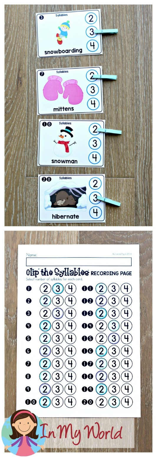 FREE Winter Literacy Centers for Kindergarten. Count and clip the number of syllables.