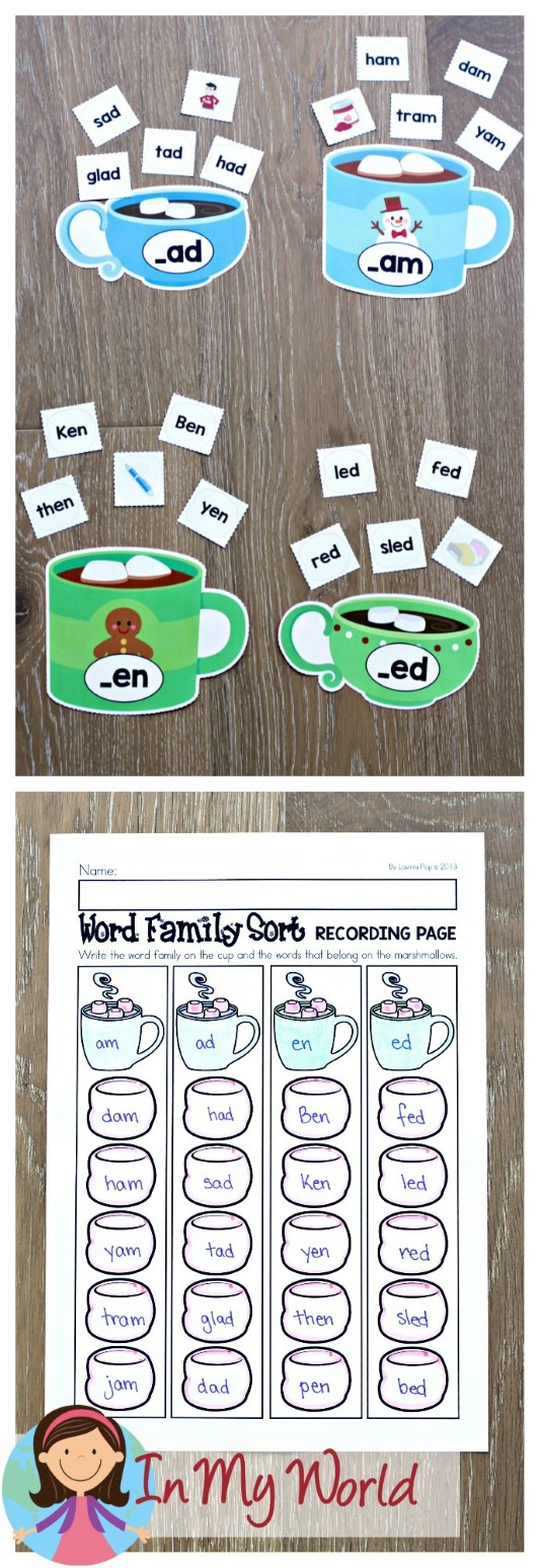 FREE Winter Literacy Centers for Kindergarten. Word family sorting activity.