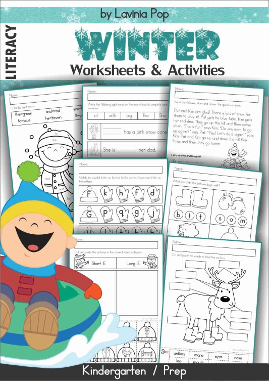 Winter Literacy Centers for Kindergarten. Worksheets packet.