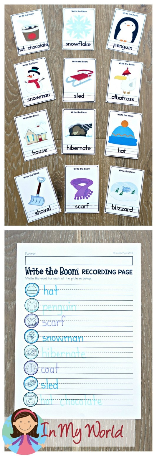 FREE Winter Literacy Centers for Kindergarten. Write the room.