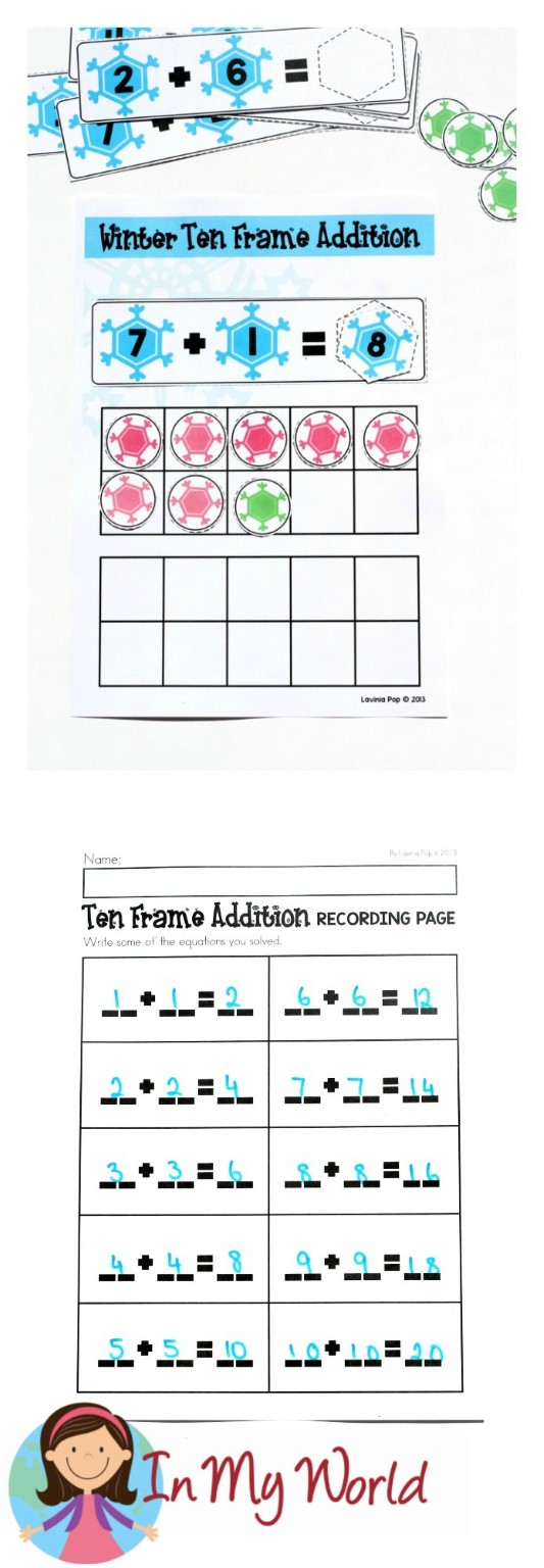 FREE Winter Math Centers for Kindergarten. Ten frame addition.