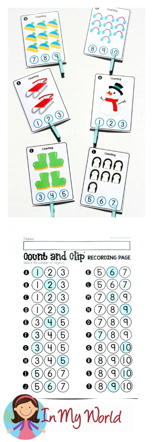 FREE Winter Math Centers for Kindergarten. Count and clip cards.