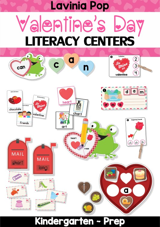 FREE Valentine's Day Literacy Centers for Kindergarten.