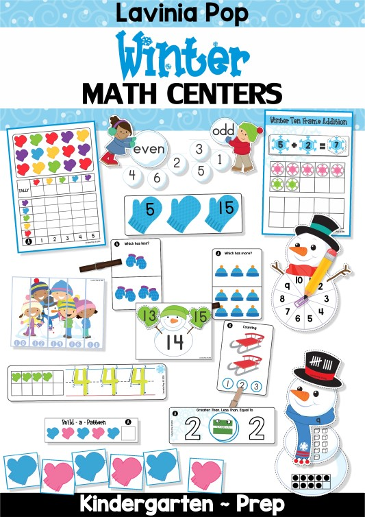 FREE Winter Math Centers for Kindergarten.