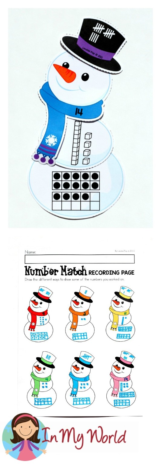 FREE Winter Math Centers for Kindergarten. Snowman number match.