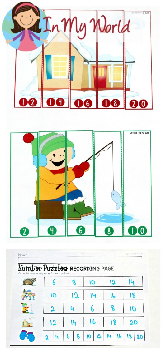FREE Winter Math Centers for Kindergarten. Number Puzzles (skip counting by 2s)