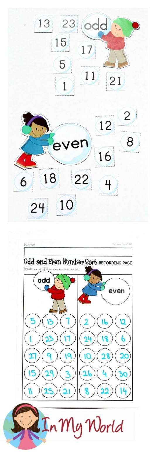 FREE Winter Math Centers for Kindergarten. Odd and Even number sorting.