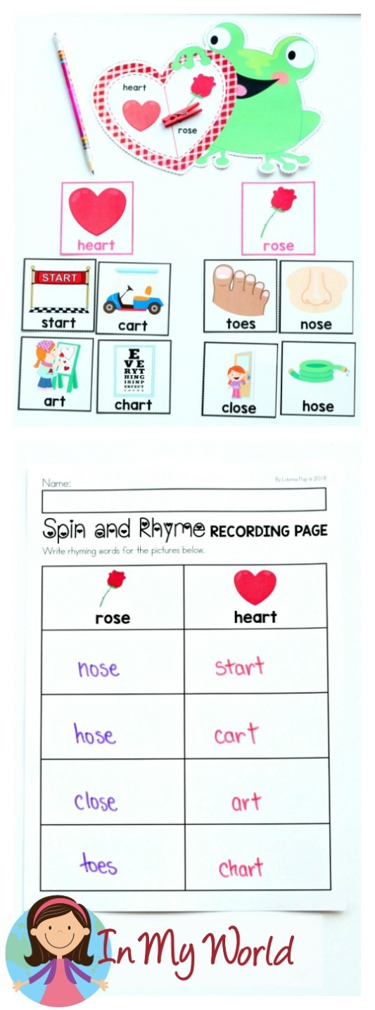 FREE Valentine's Day Literacy Centers for Kindergarten. Spin and find a rhyme.