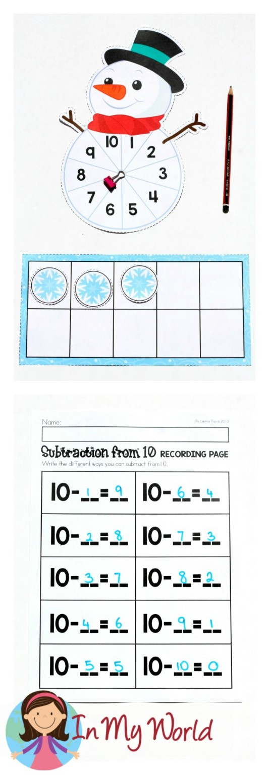 FREE Winter Math Centers for Kindergarten. Subtraction.