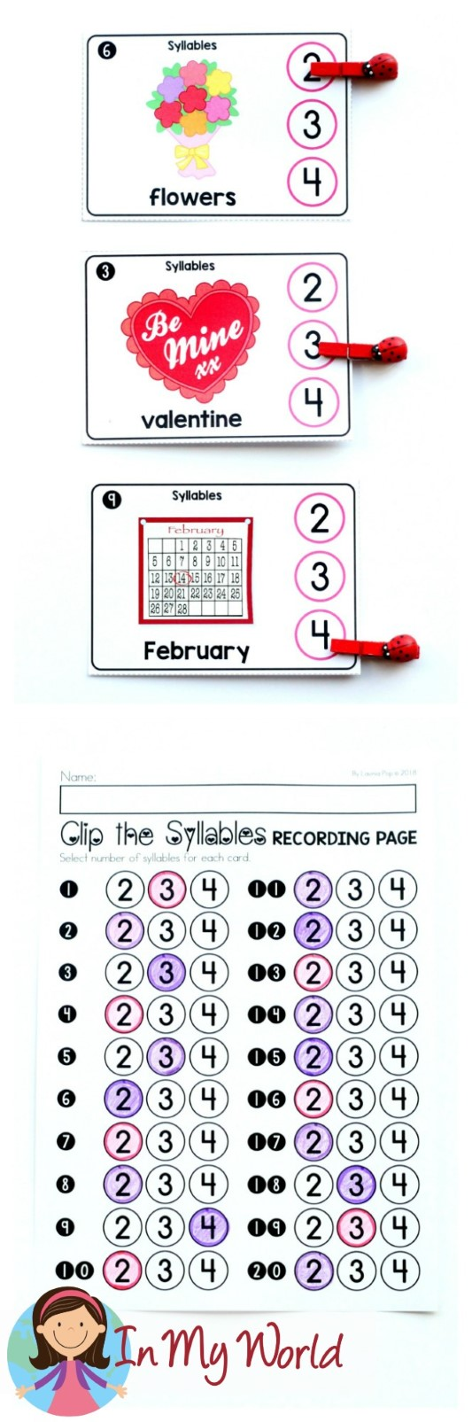 FREE Valentine's Day Literacy Centers for Kindergarten. Clip the syllables.
