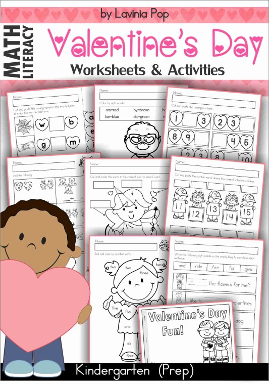 Valentine's Day kindergarten worksheet and activities.