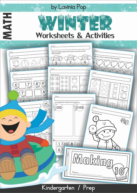 FREE Winter Math Centers for Kindergarten. Math worksheets.