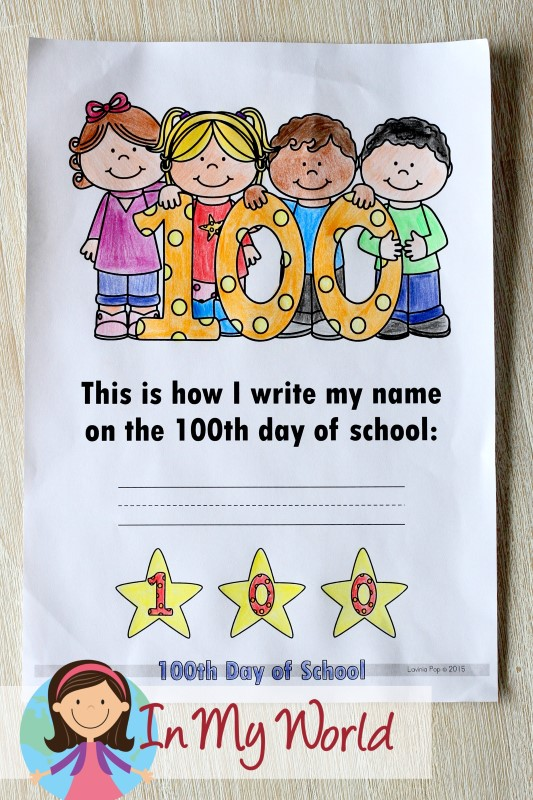 100th Day of School Worksheets and Activities. Cover page.