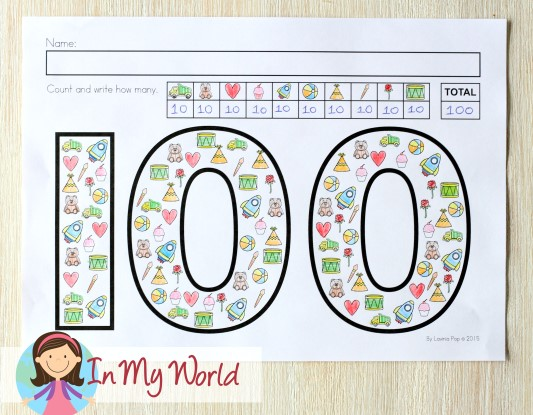100th Day of School Worksheets and Activities. Count and write how many.