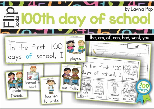 100th Day of School Sight Words Flip Books.
