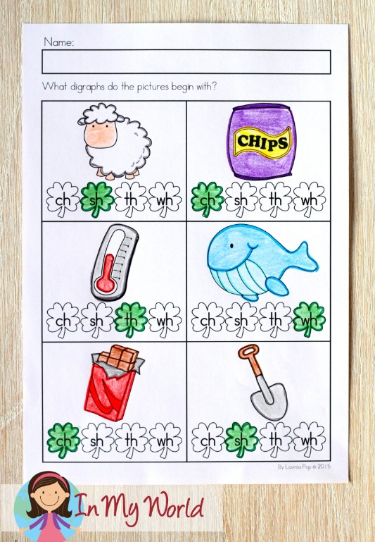 St. Patrick's Day Worksheets and Activities for Kindergarten. Beginning digraphs.