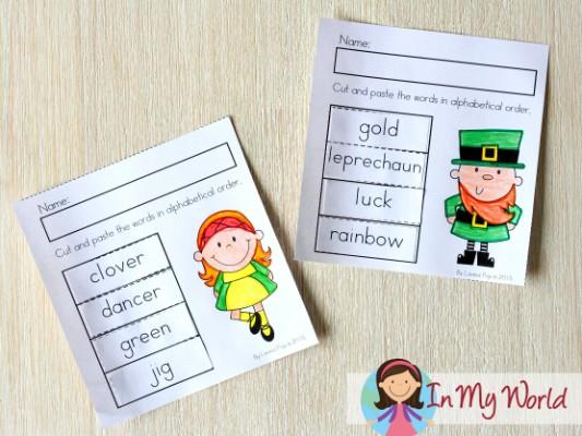 St. Patrick's Day Worksheets and Activities for Kindergarten. Alphabet order.
