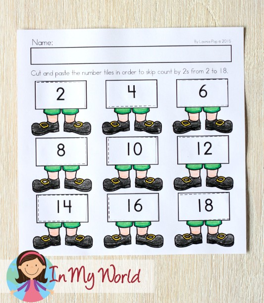 St. Patrick's Day Worksheets and Activities for Kindergarten. Cut and paste skip counting activity.