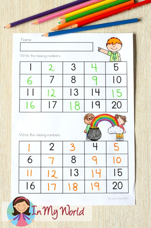 St. Patrick's Day Worksheets and Activities for Kindergarten. Write the missing numbers.