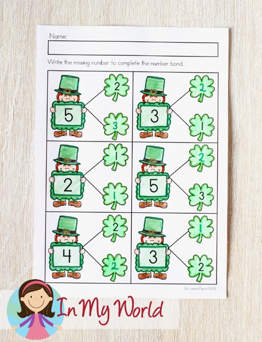 St. Patrick's Day Worksheets and Activities for Kindergarten. Number bonds.