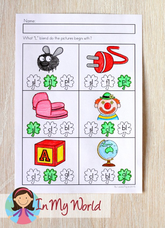 St. Patrick's Day Worksheets and Activities for Kindergarten. Beginning f blends.