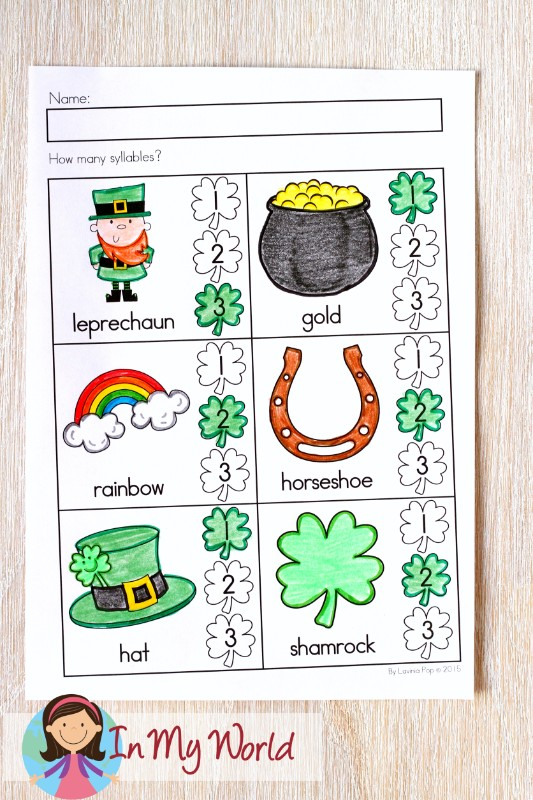 St. Patrick's Day Worksheets and Activities for Kindergarten. Syllables.