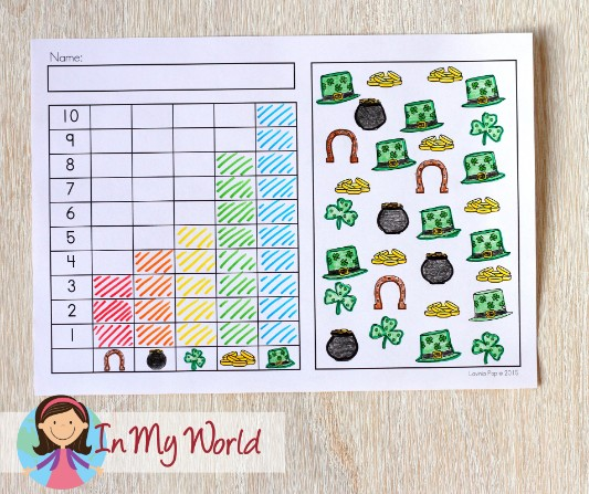 St. Patrick's Day Worksheets and Activities for Kindergarten. Count and graph.
