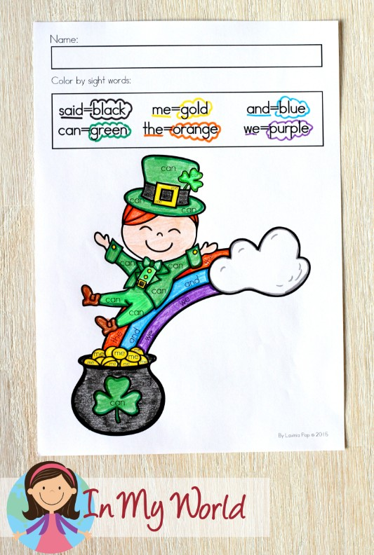 St. Patrick's Day Worksheets and Activities for Kindergarten. Color by sight word.