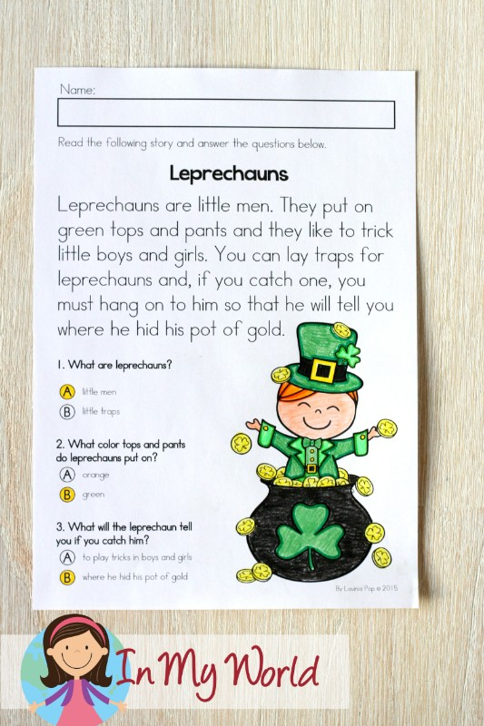 St. Patrick's Day Worksheets and Activities for Kindergarten. Reading comprehension.