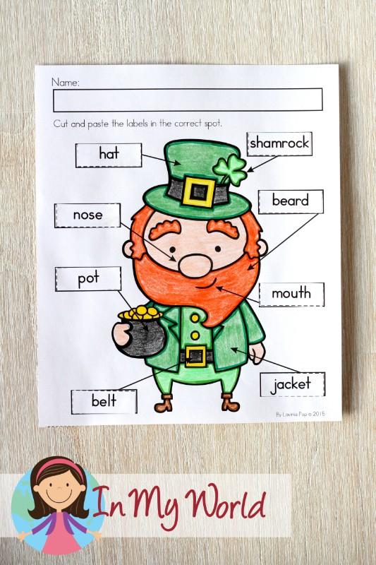 St. Patrick's Day Worksheets and Activities for Kindergarten. Label the leprechaun.