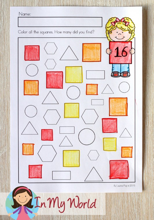 St. Patrick's Day Worksheets and Activities for Kindergarten. Count the shapes.
