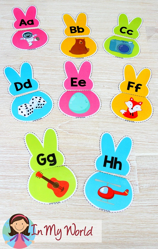 FREE Easter Preschool Centers alphabet, beginning sounds, match