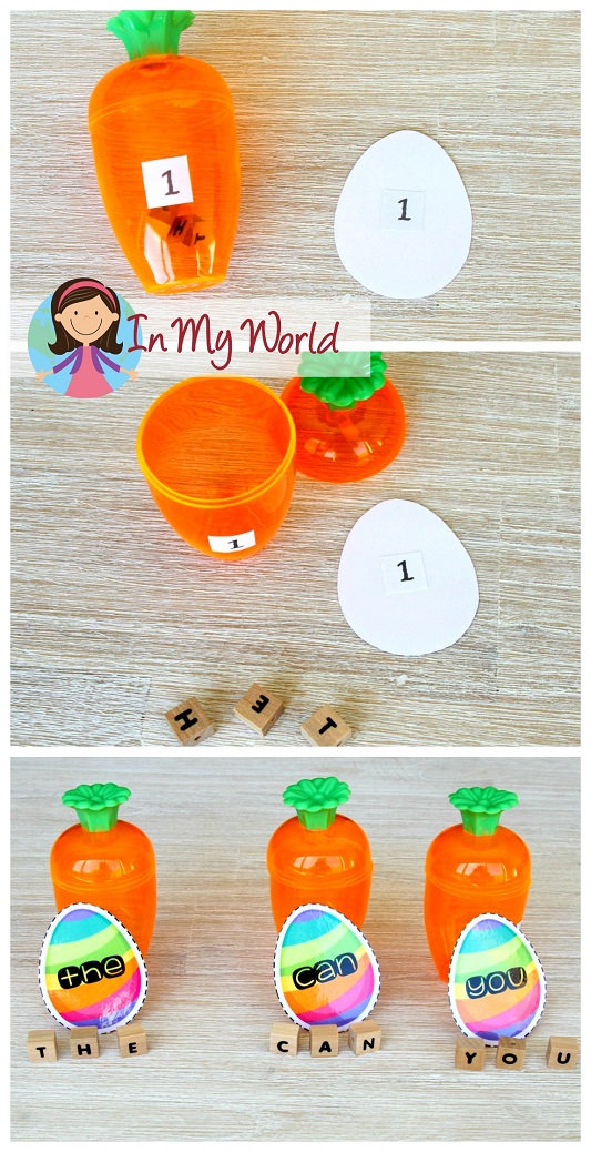 FREE Easter Preschool Centers. Sight words activity.