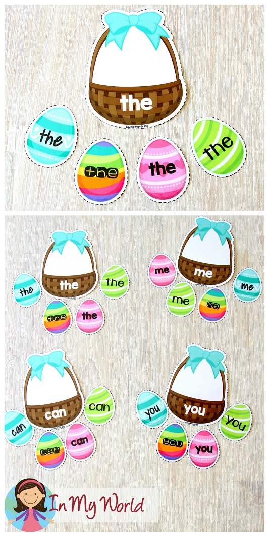 FREE Easter Preschool Centers. Sight words Easter basket sorting.