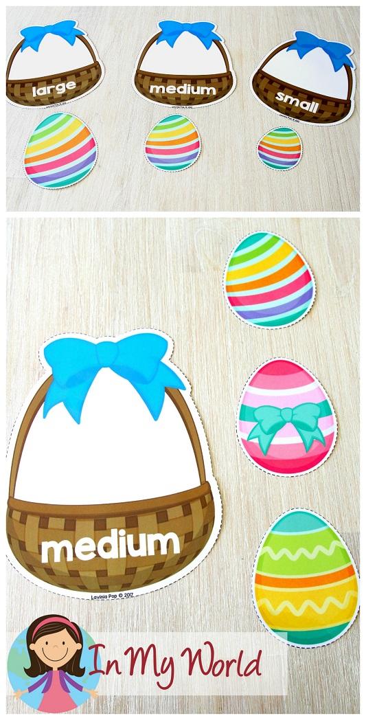 FREE Easter Preschool Centers. Easter egg size sorting.