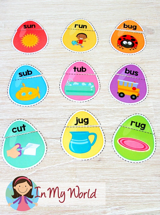 FREE Easter Preschool Centers. CVC words and picture matching activity.