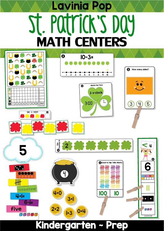 St. Patrick's Day Math Centers for Kindergarten.