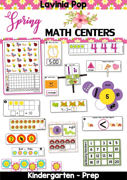 FREE Spring Math Centers for Kindergarten.