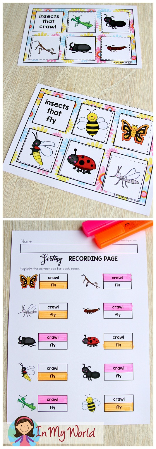 FREE Spring Math Centers for Kindergarten. Sorting activity: insects that fly and insects that crawl.