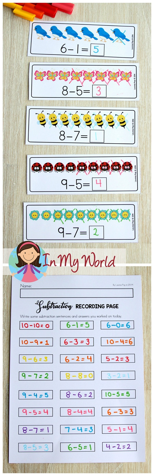 FREE Spring Math Centers for Kindergarten. Subtraction with pictures.