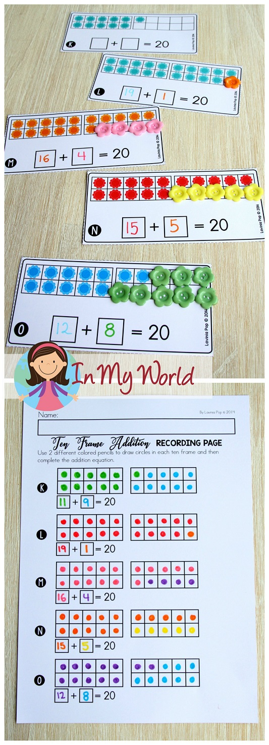 FREE Spring Math Centers for Kindergarten. Ten frame addition.